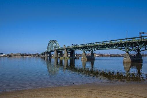 New Jersey, Bridge, Delaware River, Park, Water, Shore