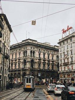 Street, Tram, Car, Milan, Building, Structure