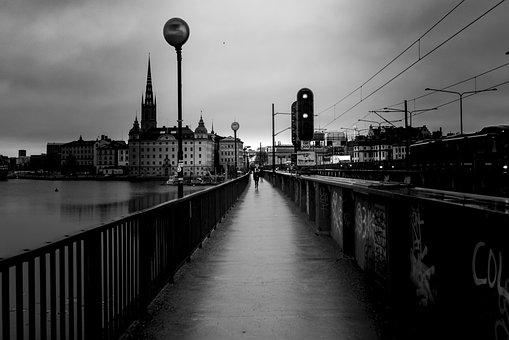 Stockholm, Black White, City, Sweden, Cityscape