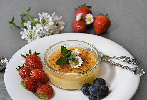 Cream, Milk Cream, Crema Catalana, Strawberries