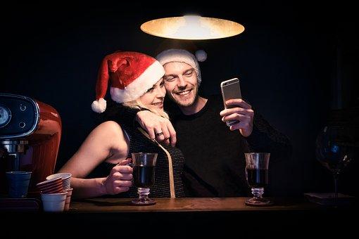 Couple, Love, Christmas, Cheerful, Happy, Happiness