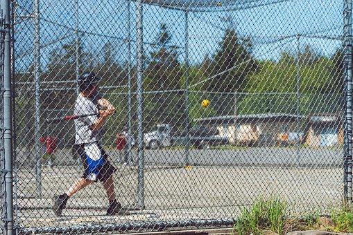 Batting Cages, Softball, Baseball, Training, Man