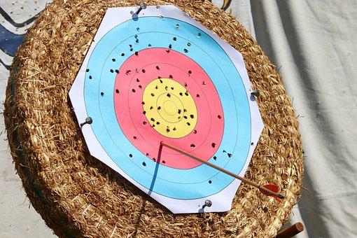 Target, Arrow, Archery, Holes, One-shots, Delivering