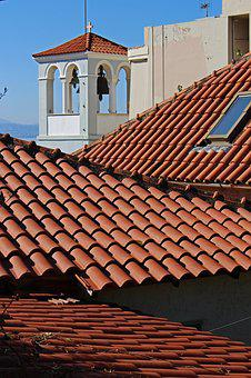 Tile, Over The Rooftops, Bell Tower, Greece