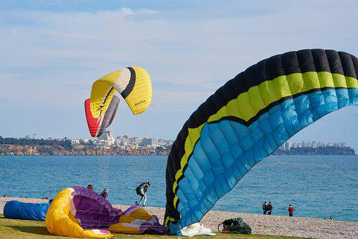 Paragliding, Parachute, Fly, Marine, Beach, People