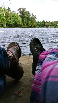 River, Water, Shoes, Feet, Boots, Jeans, Dress, Daytime