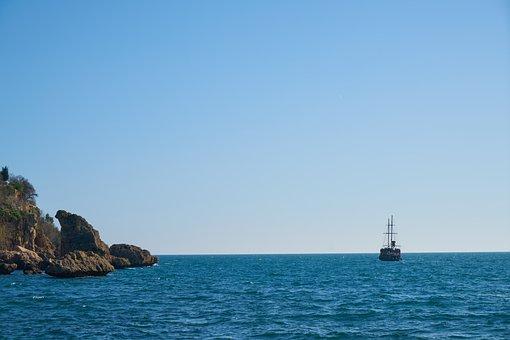 Marine, Travel, Ship, Boots, Boat, Rocky, Blue, Horizon