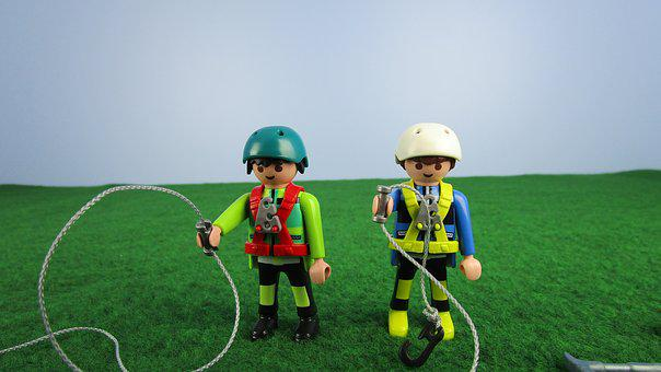 Two Climbers With Equipment, Playmobil, Miniature