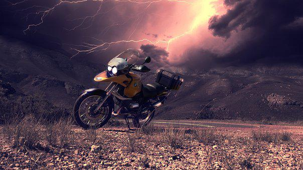 Motorcycle, Storm, Weather, Night, Western, Cape, Pass