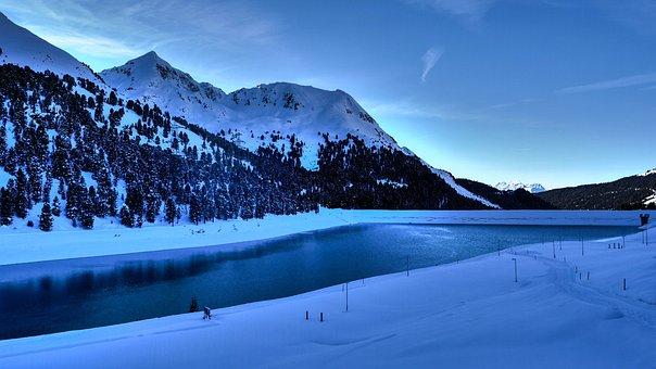 Lake, Winter, Landscape, Nature, Snow, Water, Sky