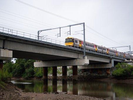 Train, Suburban, Transport, Transportation, Bridge