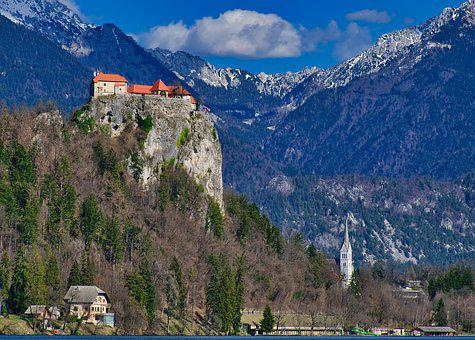 Castle, Height Burg, Building, Historically, High, Bled