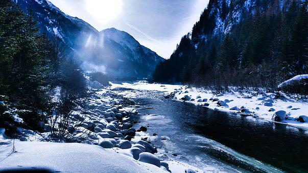 River, Winter, Ice, Water, Trees, Snow, Cold, Lighting