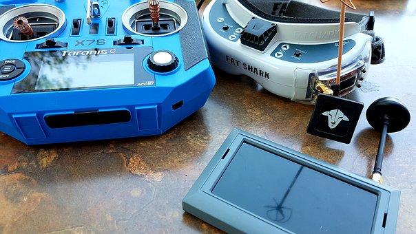 Drone Control Unit, Joystick, Monitor Glasses, Display