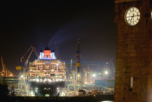 Port, Hamburg, Queen Mary, Dock, Blohm And Voss, Ship