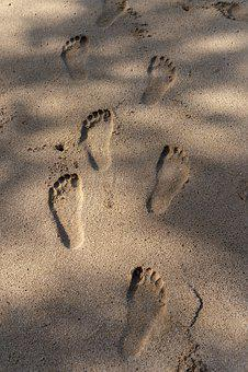 Feet, Sand, Footprint, Beach, Vacation