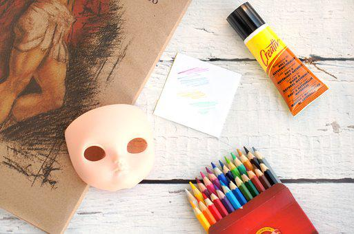 Pencil, Pencils, Mask, Glue, Creative, Art, Handmade