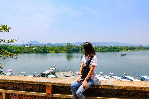 Landscape, Vietnam, Hue City, River, Girl, Harbour