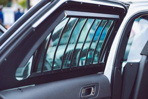 Police, Door, Bars, Cops, Car, Inside, Open, Close-up