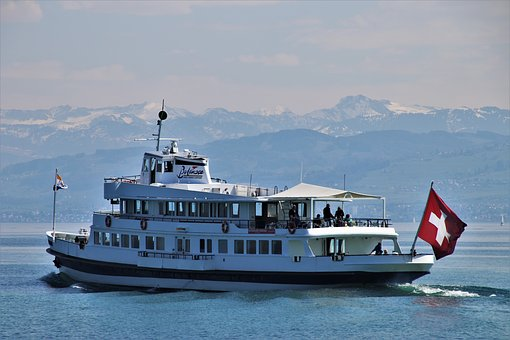 Flag, Lake, Switzerland, Boat, Ferry, Bodensee, Water