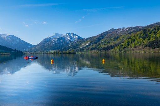 Schliersee, Lake, Mirroring, Blue, Nature, Landscape