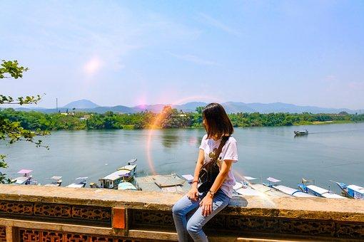 Landscape, Vietnam, Hue City, River, Girl, Ships