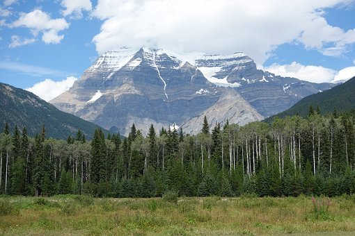 Mount, Robson, Mountain, Trees, Nature, Landscape, Blue