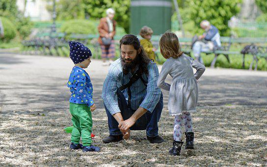 Man, Bearded, Parent, Dad, Kids, Play, Park, Relaxation