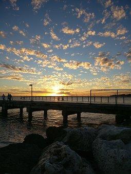 Barbados, Oistins, Sunset, Caribbean, Pier, Clouds, Sun