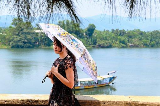 Landscape, Vietnam, Hue City, River, Girl, Boat