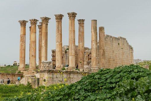 Jordan, Jerash, Gerasa, Ruin, Pillar, Antiquity, Temple