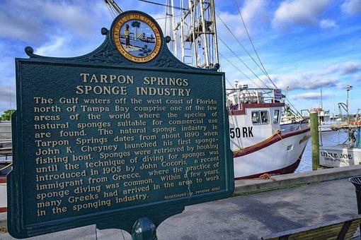 Florida, Tarpon Springs, Boats, Dock, Waterfront, Boat