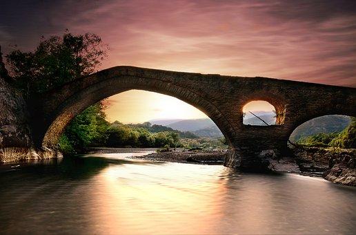 Bridge, Stone, Water, River, Architecture, Greece, Sky