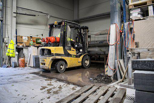 Forklift, Industry, Workshop, Saw, Steinmetz, Cargo