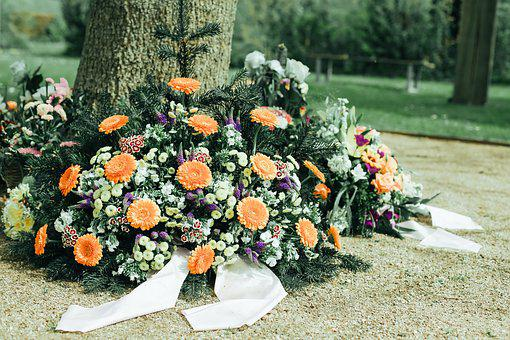 Mourning, Arrangement, Flowers, Commemorate, Cemetery