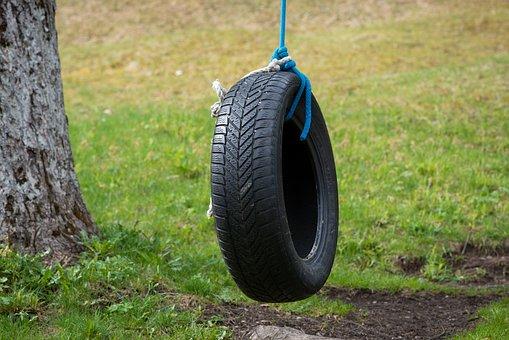 Mature, Auto Tires, Tire Swing, Swing, Kids Rocking