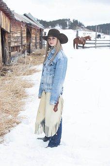 Cowgirl, Dog, Snow, Barn, Western, Animal, Woman, Ranch