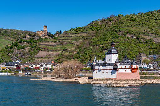 Castle, Moated Castle, Island, Water, River, Rhine