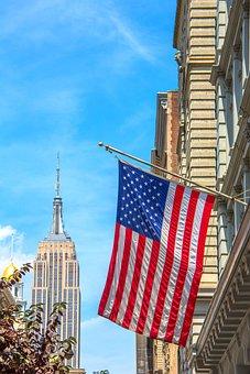 Empire State, Nyc, Flag, America, Manhattan, City
