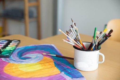 School, Paint, Art, Colored Pencils, Draw, Paper, Color