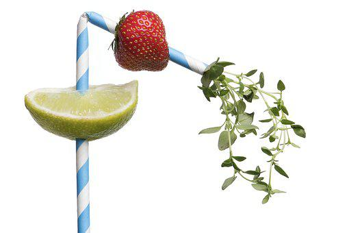 Cocktail, Strawberry, Lime, Thyme, Straw, Drink, Fruits