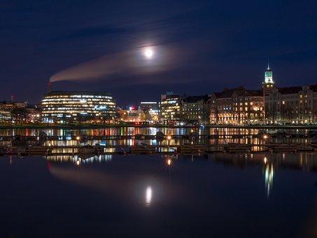 Full Moon, Moon, Cityscape, City Lights, Hakaniemi