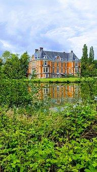 Castle, Garden, Water, Mirror Image, Belgium