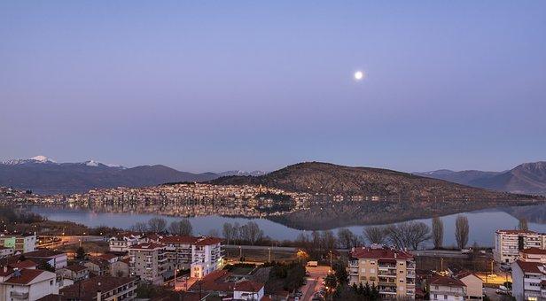 Moon, Lake, Kastoria, Greece, Water, Landscape, Sky