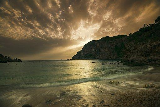 Sea, Corfu, Greece, Summer, Sunset, Trees, Sky