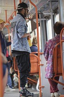 Young, Boy, Man, Headphones, Ear, Tram, Transport