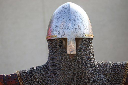 Helm, Chainmail, Knight, Armor, Protection, Metal