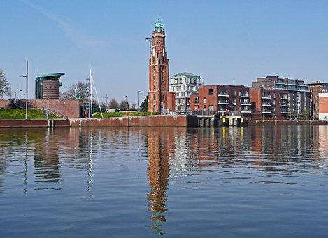 Bremerhaven, Lighthouse, Landmark, Brick, Inland Port