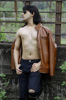 Man, Male, Leather Jacket, Shirtless, Outdoors