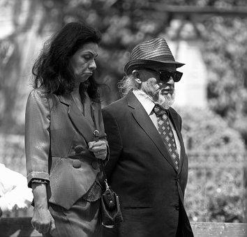 Man, Old, Going, Together, Hat, Park, Nature, Glasses
